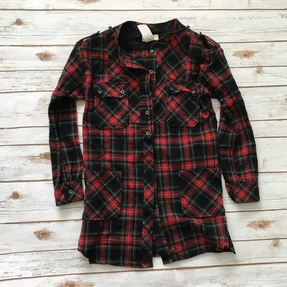 Etoile Isabel Marant Red Black Plaid Shirt Tunic